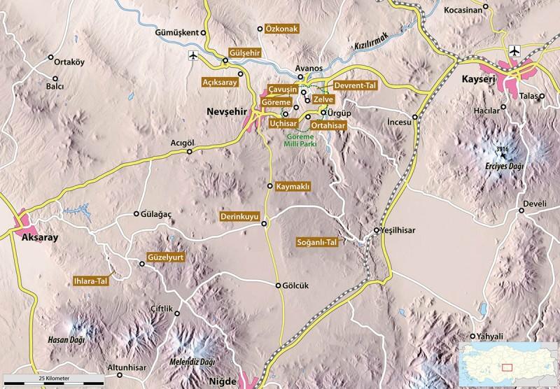 Übersichtskarte von Kappadokien (Grafik: Maximilian Dörrbecker)