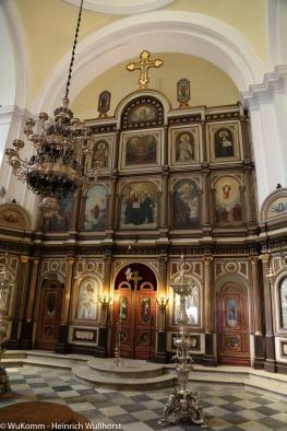 In der Orthodoxie ist der Altarraum vom Gemeinderaum durch eine Wand getrennt.